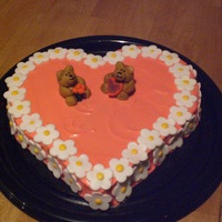 Bear Love  strawberry heart shape cake,cream cheese frosting,daisy flowers made from fondant,bears made from fondant, heart shape valentine card,...