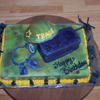 Toy Soldier My son really wanted a toy soldier cake and this is the concept I came up with. Everything is cake except the antenna on the walkie talkie...
