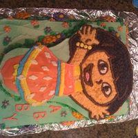 Dora The Explorer I made this cake for my niece's Birthday. Dora was made by using a charater shaped pan.