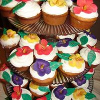 Tropical Birthday Cupcakes This is a tier of Tropical cupcakes. Frosted in buttercream with fondant flowers. Thank you so much Grammasue for the inspiration and the...