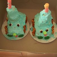 Twin Thomas Cakes My four year old twin grandchildren made these thomas the train twin cakes. They love to make cakes
