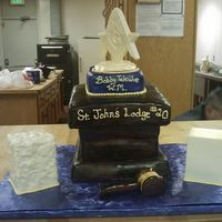 "Masonic Installation Cake Masonic Installation ""podium"" w/spinning Square & Compass. All edible minus spinning motor and dowels"