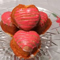 Strawberry Hearts Pound cake hearts filled with strawberry filling with a strawberry glaze.