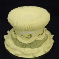 Traditional Royal Iced Cake all work royal icingtop edge decoration - custion work (created by overpiping lines)