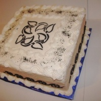 Stencil  9x9 white cake, BC icing with Stencil, are you aware that you can purchase stencils from in expensive from a fabric store, I paid less than...