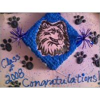 Huskie Graduation Cake The logo is hand traced on rice paper.