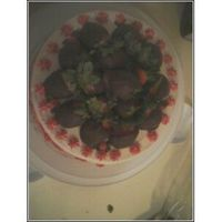 Strawberry Cake Top View