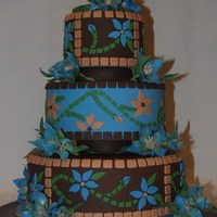 Oregon State Fair 2008 Blue and Brown mosaic cake