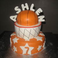 Basketball Birthday Cake! Yellow Cake with Buttercream icing for a 7th Birthday Party!