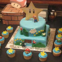 Super Mario Bros. Nintendo Wii Birthday Cake This was my son's birthday cake. He loves Super Mario Bros so I made him the ultimate cake with matching cupcakes, the cupcakes were...