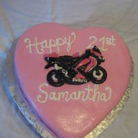 Pink Gsxr Birthday Cake For 21St Birthday Pink Heart Shaped Cake for a 21st Birthday with a Marshmallow Fondant Pink Suzuki GSX R Motorcycle!