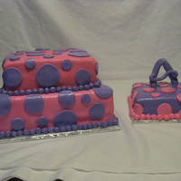 York, Pa Birthday Parties Birthday Cake for a 2 year old, two tiers with a smaller cake just for Ava. Pink and Purple with Polka Dots!
