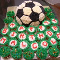 Malcolm Coconut & orange cake for the soccer ball surrounded with butterscotch cupcakes.