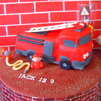 Fire Engine Cake For my son's 3rd bday party. Red Velvet cake with buttercream and Michele Foster's Fondant. My icing was too soft so it was...
