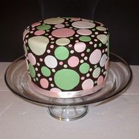 Melissas_Cake_003.jpg All fondant triple layer cake for a baby shower. The cake matched some fabric being used in the decorations. Ribbon wrapped bottom.