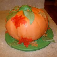 Pumpkin Cake I got the idea from another contributor, but I used the molded pumpkin cake pan. Thanks for the inspriration!