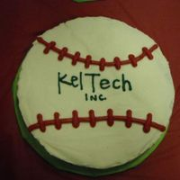 "Giant Baseball Cookie  this is a 12"" baseball cookie cake, i used the wilton pan. it is covered in buttercream. i make 2 for my son's end of season..."
