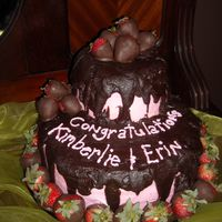 "Sloppy But Yummy this was my sister's graduation cake. she requested ""fudge frosting"" and ""chocolate covered strawberries"". fudge..."