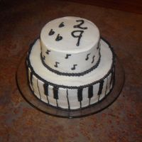 Musical Birthday I This cake was for my musical brother-in-law's birthday. It's all buttercream, and the bottom is 10'', and the top is 8...