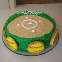 Softball Birthday  This was for a little girl who plays softball, and uses that bright yellow ball. The cake is 2 tiered --10''. i used crushed...