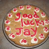 Good Luck Cookie Cake This was a throw together at the last minute cake. My son went to kindergarten this year, and was not too excited about it...so I thought a...