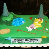 Drunk On Golf Course This cake was made to match very specific instructions from client. French vanilla cake with chocolate fudge filling. Covered in...