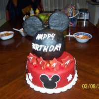 3D Mickey Mouse Cake His head was made out of Rice Treats covered in fondant but I have also been able to create the same effect using Styrofoam covered in...