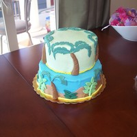 Jungle Theme My friend wanted a jungle themed baby shower cake and this is what I came up with. BC with fondant accents.