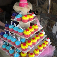 Disney Princess Themed Cupcake Tower  Disney princess party. Belle in yellow, Ariel in purple, Cinderrella in light blue and snow white in white. With her favorite princess...