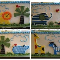 Baby Safari Scenes  This is a second photo to show all four scenes of the Baby Safari Shower cake I submitted already. All animals are made from chocolate to...