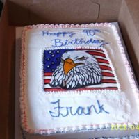 Eagle Cake birthday cake for a friend of my sisters...eagle is made out of fondane and then painted..
