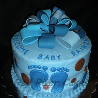 Blue Bow   Gum paste bow held together by candy melts. Last minute cake came together!