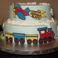 Train/plane Cake This is my version of the popular train cake. Thanks to all CC members for the great inspiration! All buttercream with chocolate transfers...