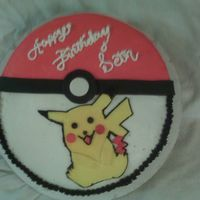Pokemon Cake Pikachu cake w/ buttercream and fondant accents. Chocolate cake w/ snickers filling. TFL