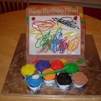 "Art Easel, Art Party Cake The picture on the easel was a replication of a ""drawing"" that the child did and the mother provided. It was an art themed party..."
