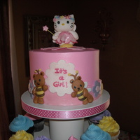 Hello Kitty Baby Shower Buttercream covered cake with hand modeled Kitty and gumpaste decorations. The design is from a picture that the mom to be found online....