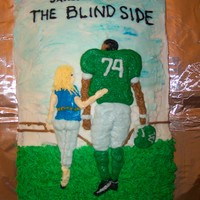 The Blind Side 13x9 chocolate cake covered with bc icing. Girls night with food and The Blind Side movie.