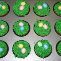 Easter Cupcakes Easter cupcakes I made for the egg hunt at Church. My second attempt at piping.