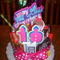 "The Non- Cake Candy Bar ""cake""  Because I bake so often, we are all kind of tired of cake. So, I put together this candy bar ""Cake"" for my daughter's 19th..."