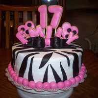 Zebra Cake   Buttercream cake, fondant cookies and accents