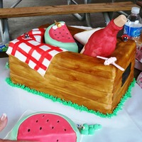 Picnic Basket All made from cake and covered in fondant except the wine bottle which was shaped with fondant over a plastic water bottle.