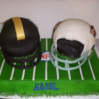 Steelers Vs. Cardinals I used the ball pan for the helmets. Fondant covered .