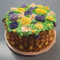 "Purple Yellow Basket Cake   8"" round, 2 layer yellow cake with buttercream frosting"