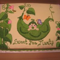 Pea In A Pod  1/2 sheet chocolate cake, decorated in buttercream. The family's last name is Plants, and the shower invitations said something like...