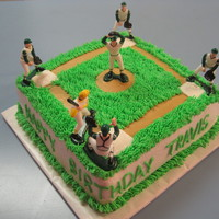 Baseball Diamond A friend wanted a small baseball cake for her 12 year old son. This is an 8 inch yellow cake decorated in buttercream. Thanks to...