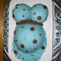 Greydon's Baby Shower Cake Used Wilton Sports ball pan for belly and muffin pan for boobies.