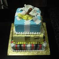 "Twin Birthday Cake And Baby Shower 3 Cakes for a twin brithday and a Baby Shower in the same day. On the top a 6""(orange), 8"" (chocolate) and 10"" square (..."