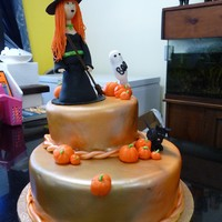 "Beware Witch Zone Everything is edible. 6"" cake and 10"" cake cover with MMF."