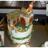 My Elfs Village This cake is hand made from cake to elfs. The cake is marble cake, chocolate and orange cake. The houses are cake cover with fondant and...