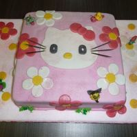 Hello Kitty Chocolate cake covered with home made fondant. Girl pass me the design I just added the marzipan figures.